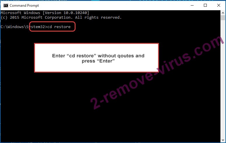 Uninstall Cryptographic Locker - command prompt restore