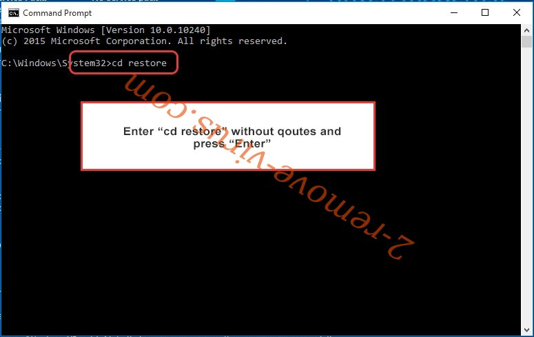 Uninstall Ever101 ransomware - command prompt restore