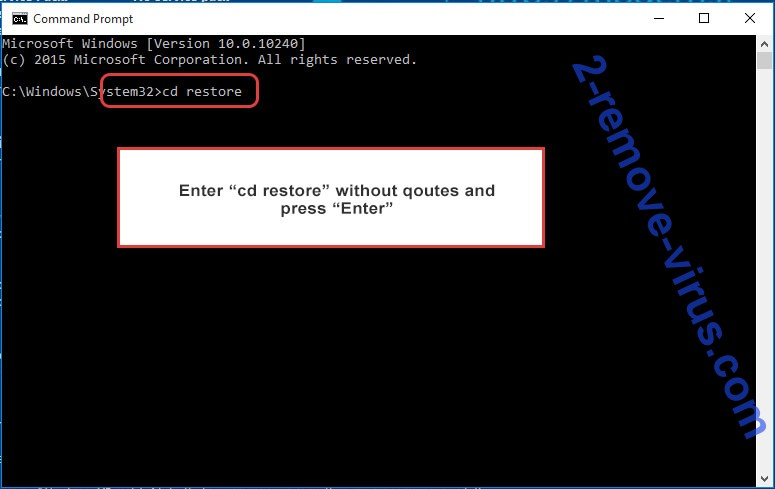 Uninstall Findnotefile ransomware - command prompt restore