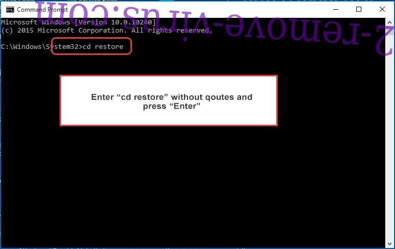 Uninstall Ehiz Ransomware - command prompt restore