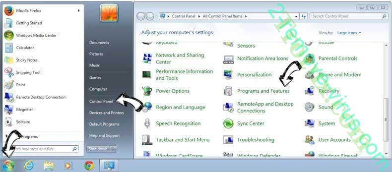 Uninstall Trotux.com from Windows 7