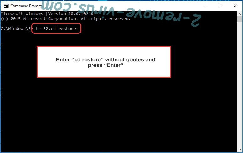 Uninstall BtcKING ransomware - command prompt restore