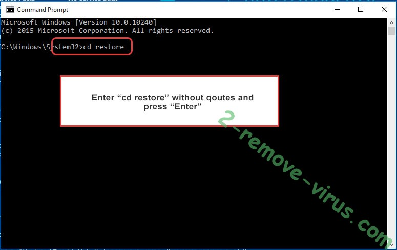 Uninstall PRT ransomware - command prompt restore