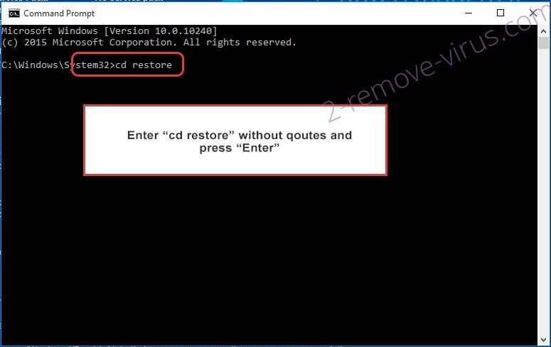 Uninstall Megac0rtx ransomware - command prompt restore