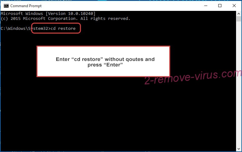 Uninstall FancyLeaks ransomware - command prompt restore