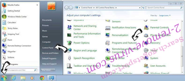 Uninstall Nfgmyassion.top pop-up ads from Windows 7