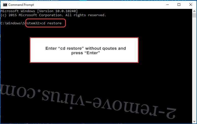 Uninstall .CHRB Files Ransomware - command prompt restore