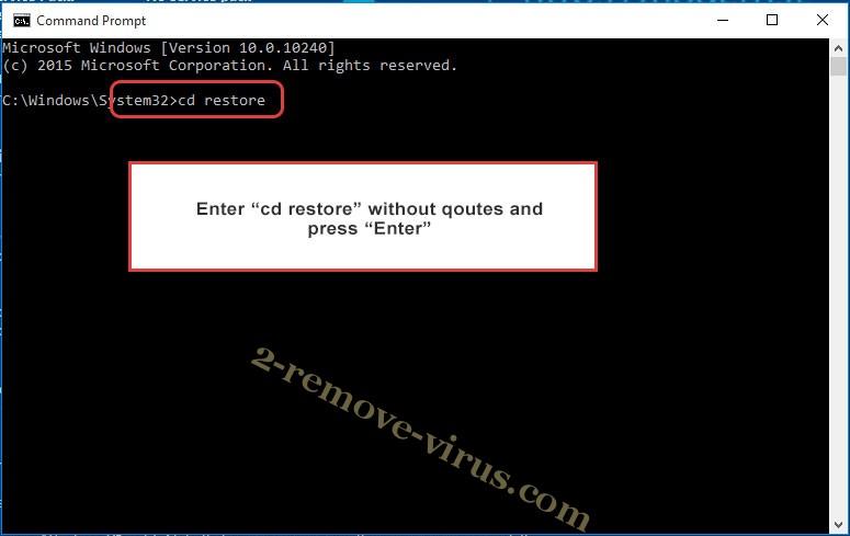 Uninstall WIN Ransomware - command prompt restore