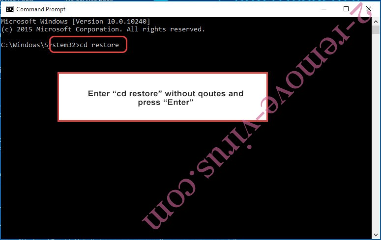 Uninstall Sguard ransomware - command prompt restore