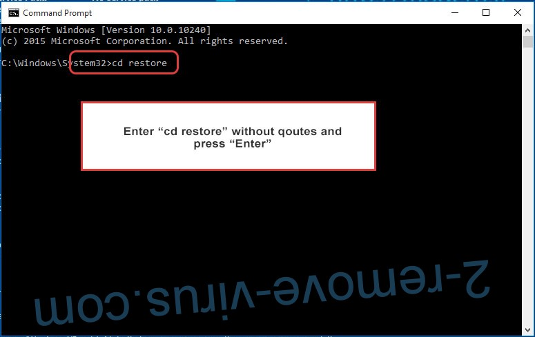 Uninstall Syrk Ransomware - command prompt restore