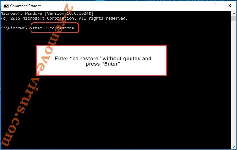 Uninstall MRDC Ransomware - command prompt restore