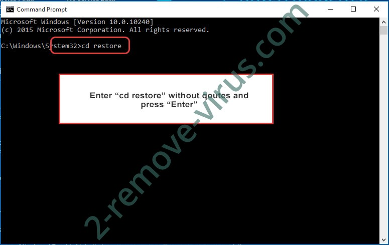 Uninstall .Spade Files Ransomware - command prompt restore