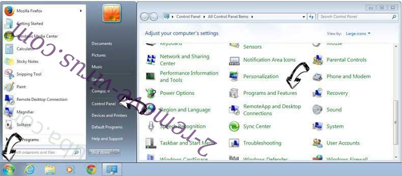 Uninstall allwownewz.com from Windows 7
