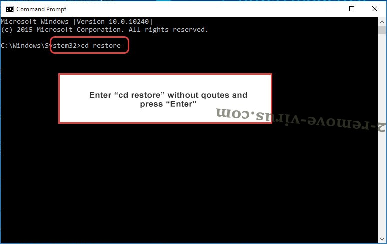 Uninstall JB88 ransomware - command prompt restore