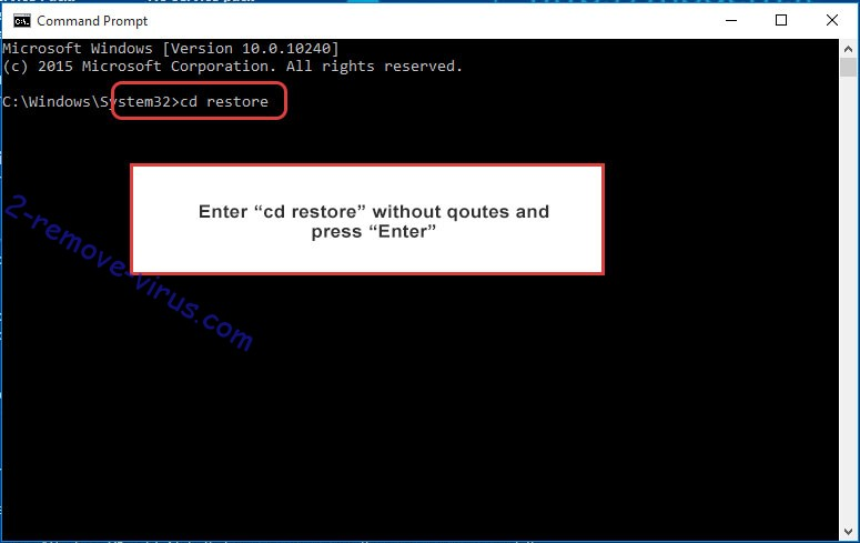 Uninstall .com ransomware - command prompt restore
