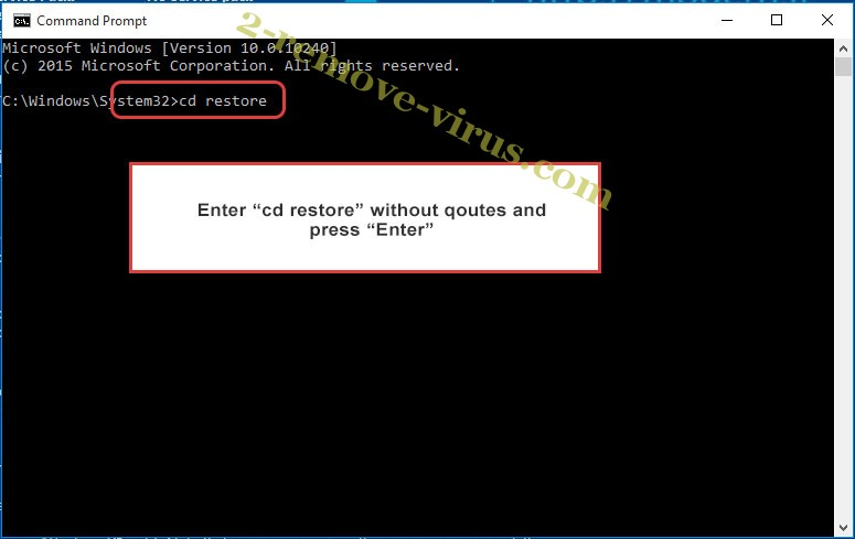 Uninstall Clhmotjdxp ransomware - command prompt restore