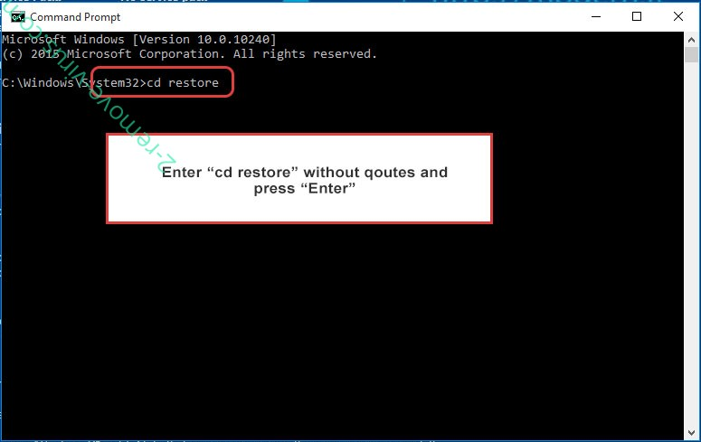 Uninstall Kut ransomware - command prompt restore