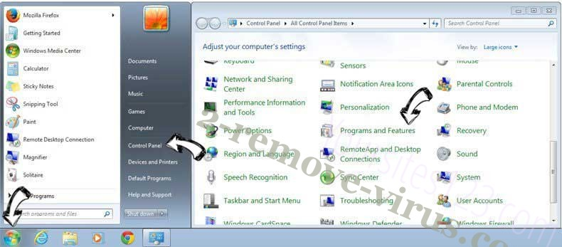Uninstall Luckysearch123.com from Windows 7