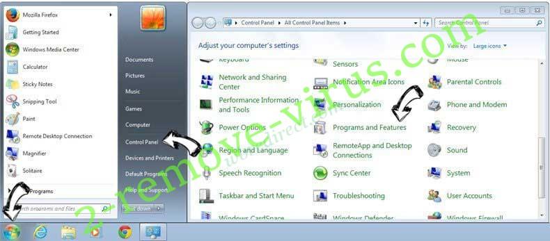 Uninstall wbredirect.com from Windows 7