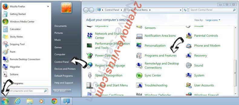 Uninstall Nistartedwo.biz virus from Windows 7