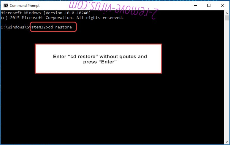 Uninstall LulzDecryptor ransomware - command prompt restore