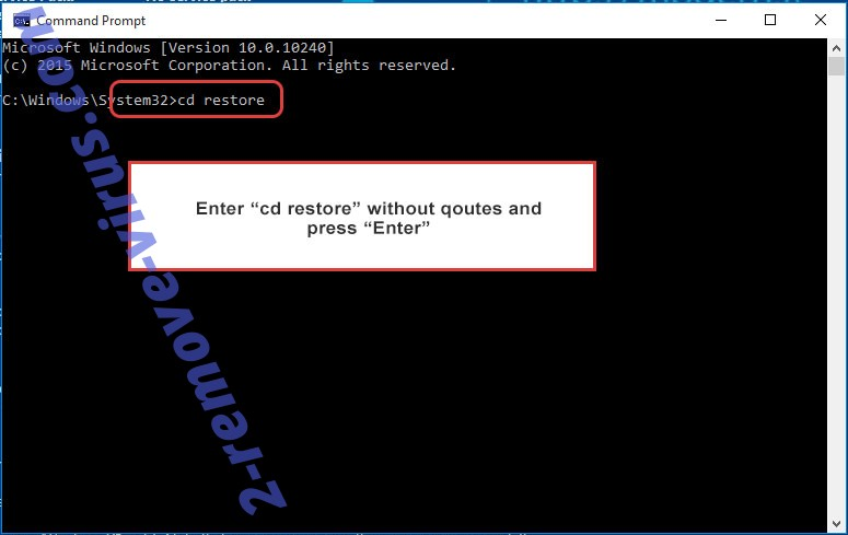 Uninstall POLSAT Ransomware - command prompt restore