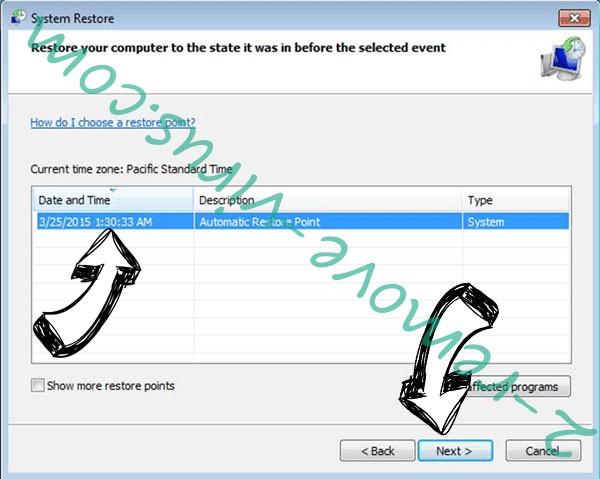 Qlocker ransomware - restore point