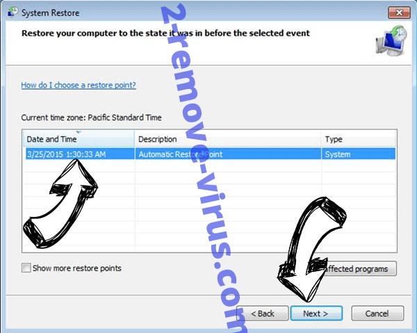 Rootiunik ransomware - restore point