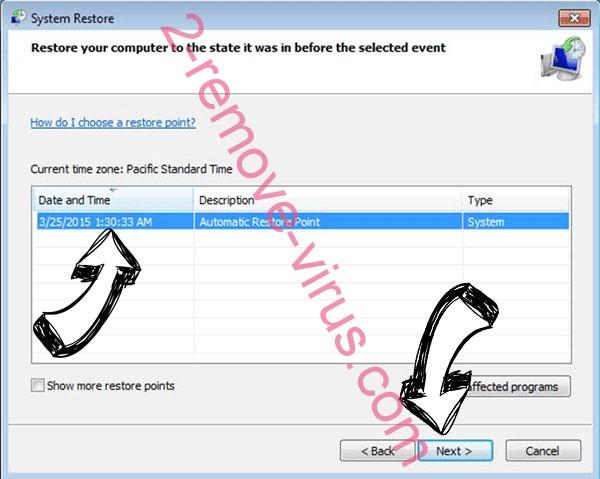 Eye ransomware - restore point