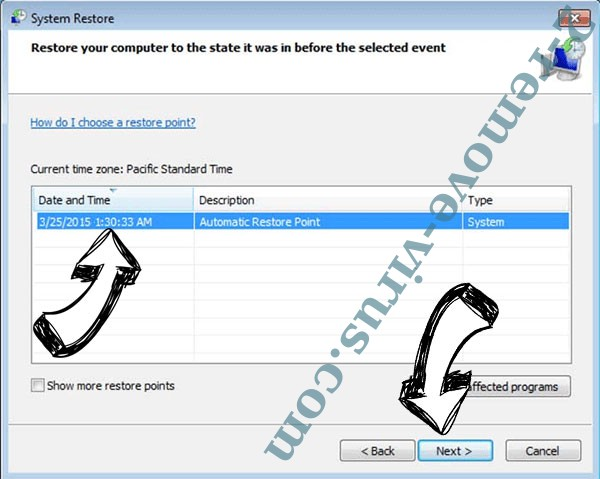 Ehiz Ransomware - restore point