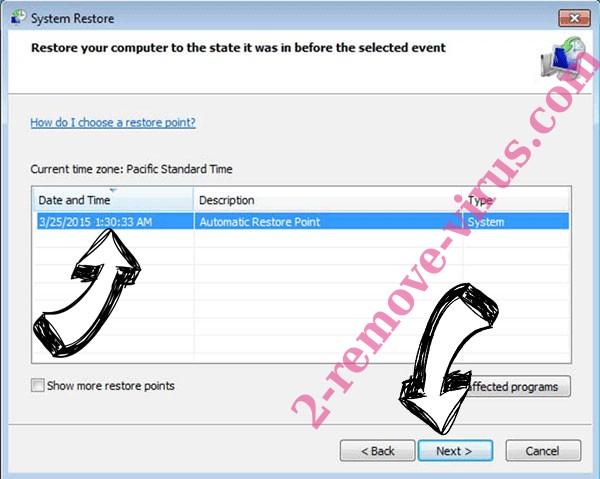 .Zzla file ransomware - restore point