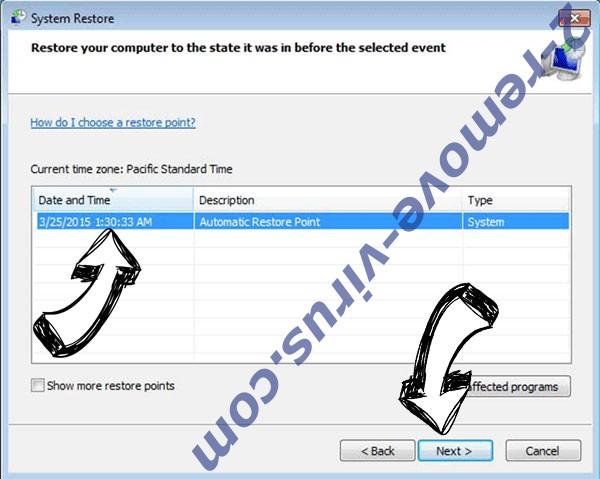 .Wwka file Ransomware - restore point