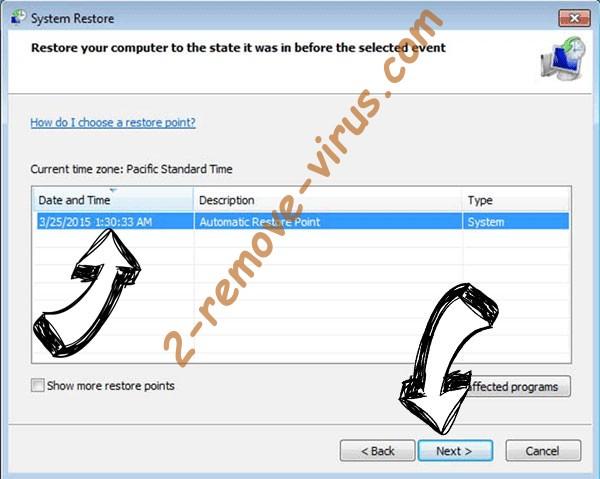 Grej Ransomware - restore point