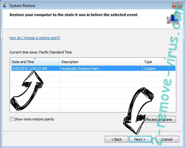 MRDC Ransomware - restore point