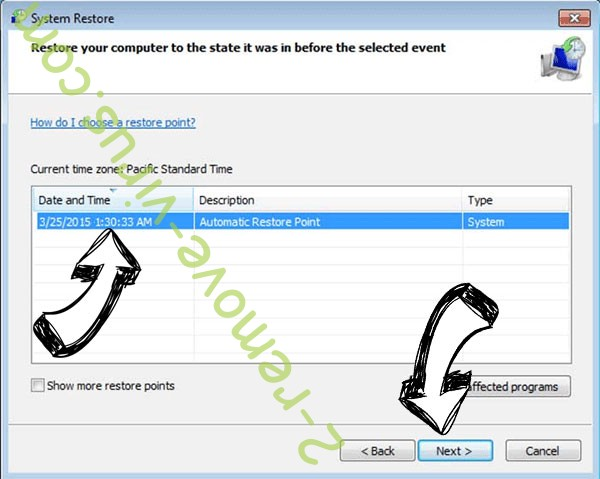 SatanCryptor ransomware - restore point