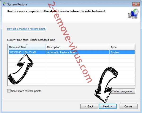 Sandboxtest ransomware - restore point