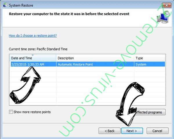 Napoli Merda ransomware - restore point