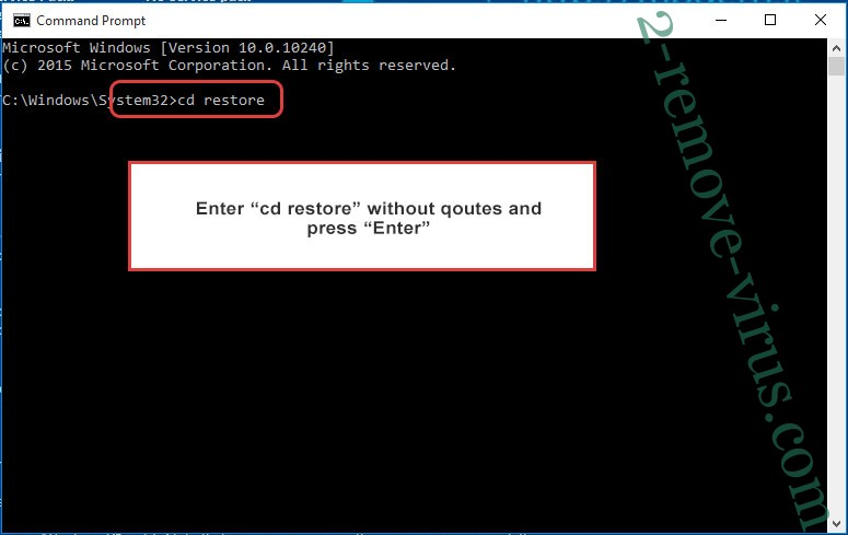 Uninstall Gvlbsjz ransomware - command prompt restore