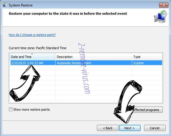 yUixN Ransomware - restore point