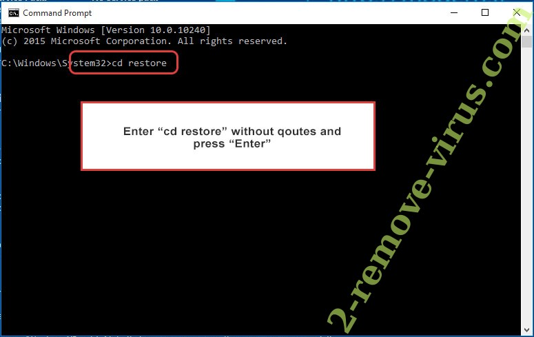 Uninstall Exotic Ransomware - command prompt restore
