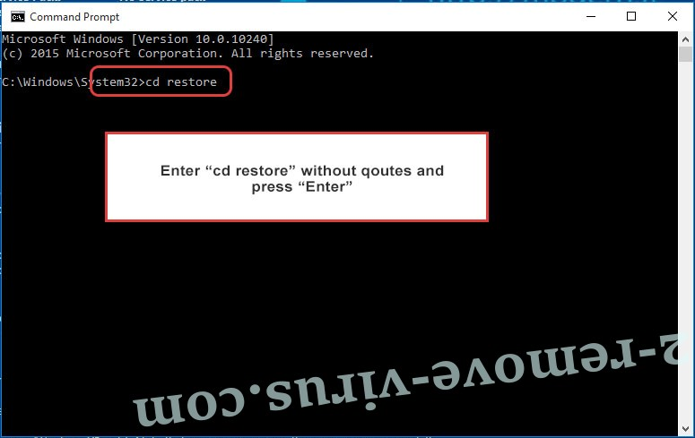 Uninstall Toec file ransomware - command prompt restore