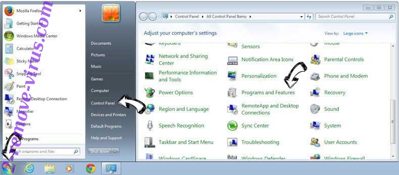 Uninstall GifsGalore New Tab from Windows 7