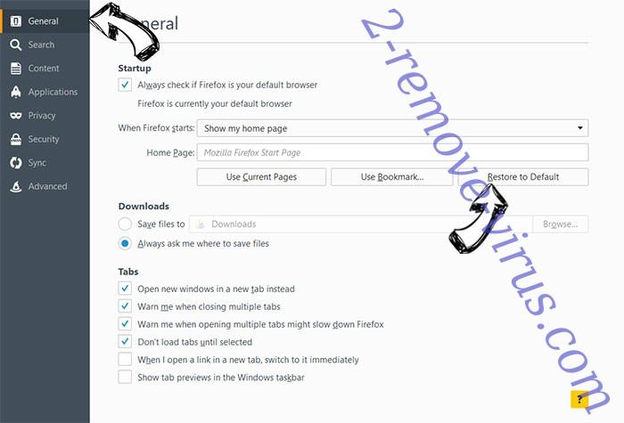 Luckyforbet.com Firefox reset confirm