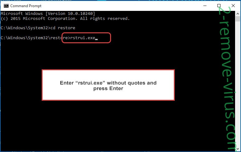Delete .Polleryou file virus - command prompt restore execute