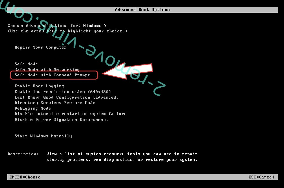Remove ROOE ransomware - boot options