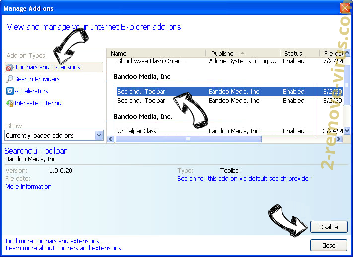 Search.searchnewvfr.com IE toolbars and extensions