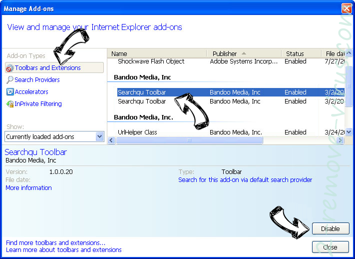Yahoo Toolbar virus  IE toolbars and extensions