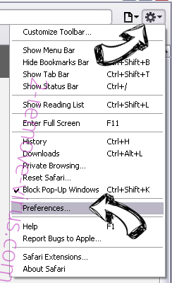 Yahoo Toolbar virus  Safari menu