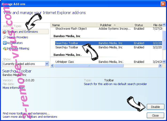 Search.hfreemanualsandguides.com IE toolbars and extensions
