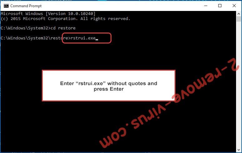 Delete GILETTE Ransomware - command prompt restore execute
